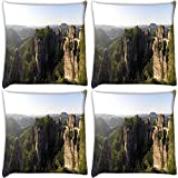 Snoogg Hill Tops Pack Of 4 Digitally Printed Cushion Cover Pillows 16 X 16 Inch