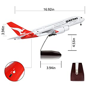 Lose Fun Park Australia A380 1:160 Model Airplane with LED Light and Landing Gear (Color: 1/160 Australia 380)