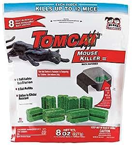 Tomcat Mouse Killer III (Kid Resistant Refillable Mouse Bait Station, Bag w/ 8 Bait Blocks)