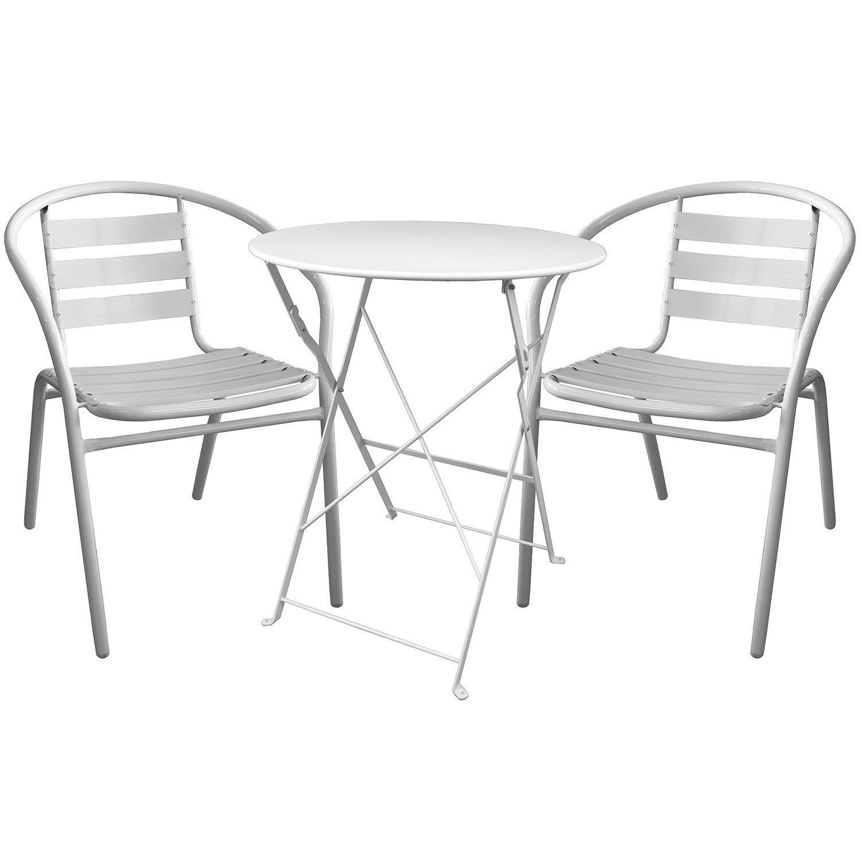 3tlg. Bistrogarnitur Klapptisch Ø60cm + 2x Gartenstühle Gartengarnitur Sitzgruppe Sitzgarnitur Weiß