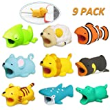 KIMCOME Bit Animal Cable Protector 9 Pack, Cable Buddies for Charging Cords, Cable Animal Bit Cord Protectors Compatible with iPhone iPad iPod