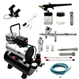 Professional Airbrush Compressor Kit Multi-Purpose Airbrushing System with 2 Airbrushes: Dual Action Gravity Feed, Single-Action Siphon Feed Cool Runner Airbrush Compressor with Tank (Tamaño: KIT 1)