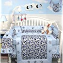 Soho Modern Blue Camouflage Baby Crib Nursery Bedding Set 13 Pcs Included Diaper Bag With Changing Pad Bottle Case