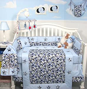 Amazon Com Soho Modern Blue Camouflage Baby Crib Nursery