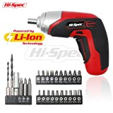 Hi-Spec 3.6V Cordless 1300mAh Lithium-ion Battery 4-LED Power Screwdriver with 26 Piece Screw & Wood Drill Bit Set for DIY Screwdriving, Repairs, Assembly in the Home, Office, and Workplace