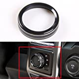Aluminum Alloy Car Inner 4WD Switch Knob Ring Cover Trim For Ford F150 XLT 2016 2017 (Black 4WD Knob Cover)