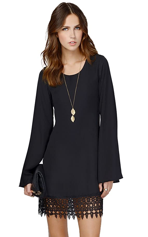 Miyang Women's Long Sleeve Chiffon A-line Lace Stitching Trim Mini Dress