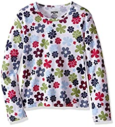 Hot Chillys Youth Pepper Skins Print Crewneck, Flower Power, Large