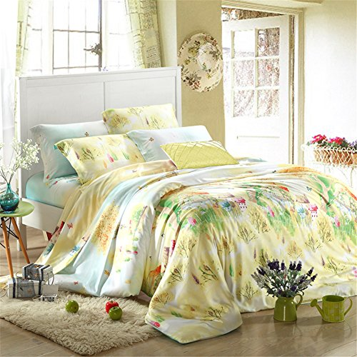 Home Feeling Tencel Bedding Series Countryside 40S Quilt Cover & Flat Sheet & Pillowcase