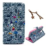 Uming Retro Colorful Pattern Print Leather case for HTC Desire 500 Gray Sketch Mess Graffiti Painting Garbage Magic Hat Lips Pyramid PU Flip Leather Holster with Stand Stander Holder Hand Free Credit Card Slot Wallet Hasp Magnet Magnetic Button Buckle Sh