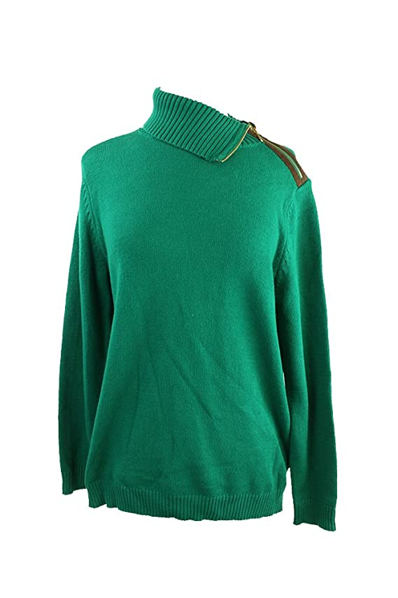 Charter Club Petite Green Ribbed-Knit Zippered Folvdover-Collar Sweater P-L $69