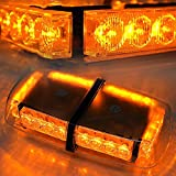 Xprite Amber 24 LED Roof Top Law Truck Car Enforcement Emergency Hazard Beacon Warning Police LED Mini Bar Snow Plow Safety Flash Strobe Light With Magnetic Base …