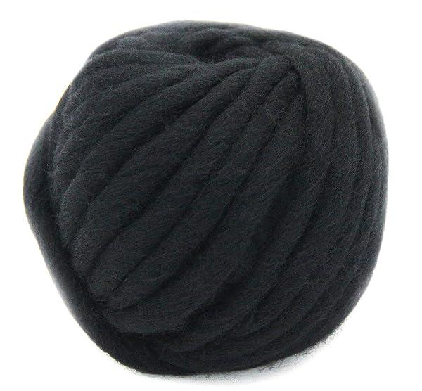 Merino Wool Super Chunky Yarn- Bulky Roving Yarn for Finger Knitting,Crocheting Felting,Making Rugs Blanket and Crafts by FLORAKNIT (Black, Chunky-40mm-1.1LB) (Color: Black, Tamaño: Chunky-40mm-1.1LB)