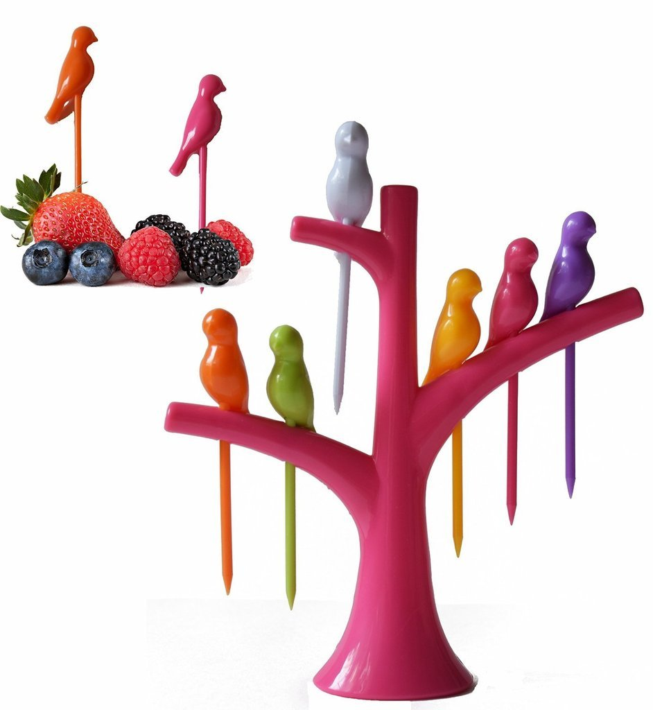 Amazon: Birdie Plastic Fruit Fork Set, 7-Pieces, Multicolour @ Rs.50/-