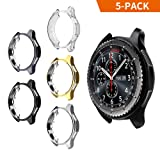 Case for Galaxy Watch 42mm, Belyoung Soft TPU Plated [Scratch-Proof] All-Around Protective Bumper Shell for Samsung Galaxy Watch 42mm Smartwatch 5 Pack (Color: black+gray+gold+silver+clear, Tamaño: 42 mm)