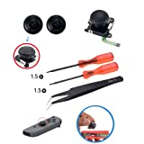 Onyehn 3D Replacement Joystick Analog Thumb Stick for Nintendo Switch Joy-Con Controller - Include Tri-Wing & Cross Screwdriver with Open Tools(with Tweezers)+ 2 Thumbstick Caps