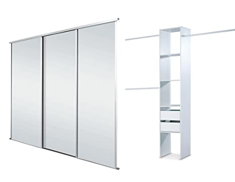 White Framed Mirror Triple Sliding Wardrobe Door Kit up to 2692mm (8ft 10ins) wide.