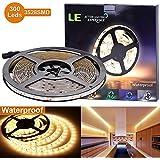 LE Lampux Bandes LED flexibles, 12V, Blanc chaud, étanches, de 300 unités 3528 SMD LED, idéales pour bricolage, pack de 5 m