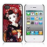 NAVY*COLLECTION Black Hard Back Metal Bumper Protection Case Cover For APPLE IPHONE 4 / 4S ( Japanese Girl With Umbrella )