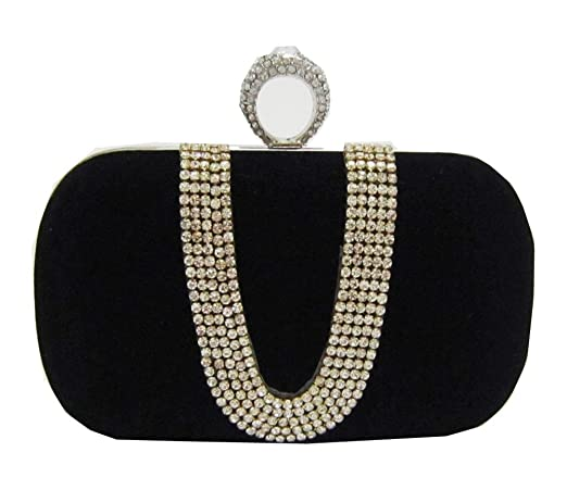 Chicastic Suede Rhinestone Studded One Ring Knuckle Duster Style Minaudiere Evening Cocktail Clutch Bag