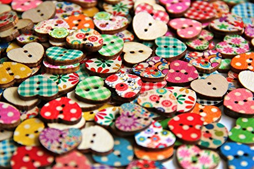 Best Prices! Heart Shaped Painted 2 Hole Wooden Buttons 18mm X15mm (Pack of 50pcs)