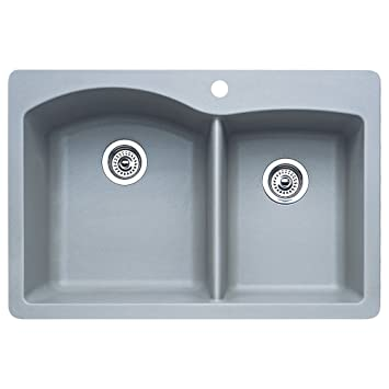 Blanco 440214 Diamond 1-3/4 Bowl Kitchen Sink, Metallic Gray Finish