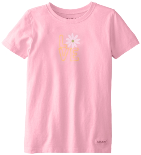 Life Is Good Girl'S Crusher Daisy Love T-Shirt, Blush Pink, X-Large front-662764