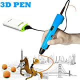 3D Pen For Kids ,Newest 3D Printing Pen Compatible ABS PLA Filament, KT-PRASE Portable 3D Printer Drawing Pen LCD Screen Supports Mobile Power (Blue) (Color: Blue)