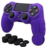 MXRC Silicone GRIP cover skin case anti-slip for PS4/SLIM/PRO controller x 1(purple) + FPS PRO extra height thumb grips x 8 (Color: 3D Grip Purple, Tamaño: 3D Grip)