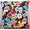 "Fantastic New Mexican Candy Skulls With Birds Black (16""x16"" (40cms x 40cms) approximately)"