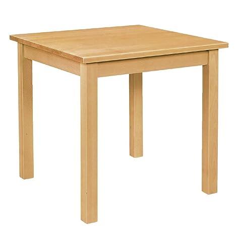 Table de salle à manger en bois, finition naturelle 760 x 760 mm.