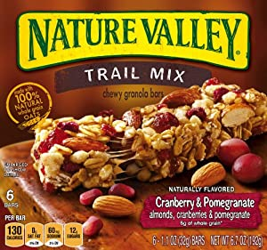 Nature Valley Chewy Trail Mix, Cranberry and Pomegranate, 6-Count Boxes (Pack of 6) , 1.1 Ounce