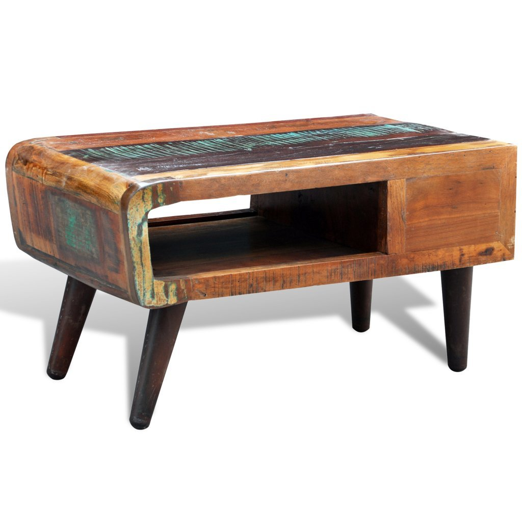 vidaXL Antique-style Reclaimed Wood Coffee Table Curved Edge 5