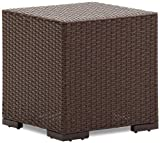 Lawn &amp; Patio - Strathwood Griffen All-Weather Wicker Side Table, Dark Brown