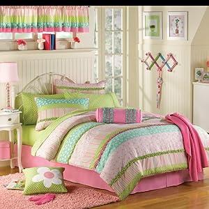 Amazon Com Pink Amp Green Ruffled Girls Twin Complete