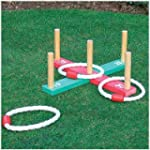 GARDEN/OUTDOOR ROPE QUOITS & WOODEN P...