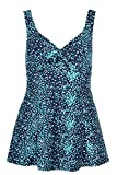 Bonmarche Womens Blue Square Print Bow Swimdress - Up To Size 26