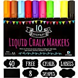 10 Premium KYNSA Chalk Markers + 40 FREE Chalkboard Labels, Reversible Tip Chalk Pens For Chalkboards, LED Board, Contact Paper, Whiteboard, Blackboard | Chalk Stickers For Labeling and Organizing