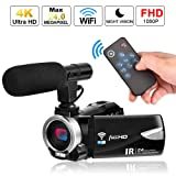 Camcorder Digital Video Camera 4K, Weton WiFi Camcorder with Microphone Full HD 1080P Vlogging Camera for YouTube 30 FPS 24.0 MP Video Recorder LCD IR Night Vision Vlog Camera(Two Batteries Included) (Color: Upgraded WiFi Camera with Mic)