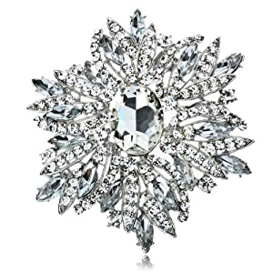 Arinna Lovely Oval Clear Flower Wedding Brooch Pin 18K White Gp Multi Swarovski Crystal