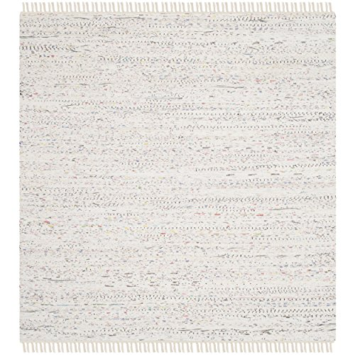 Safavieh Rag Rug Collection RAR121G Hand Woven Ivory and Multi Cotton Square Area Rug, 6 feet Square (6' Square)