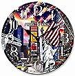 Tinas Collection runde moderne Wanduhr mit dem Motiv Big Apple, Ø 30 cm