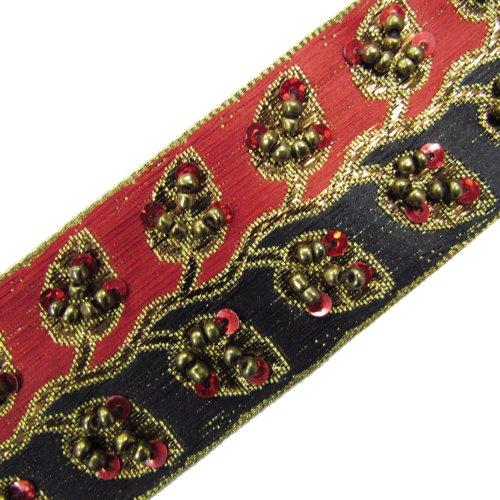 1 Y Hand Bead Sequin Black Red Ribbon Trim Craft