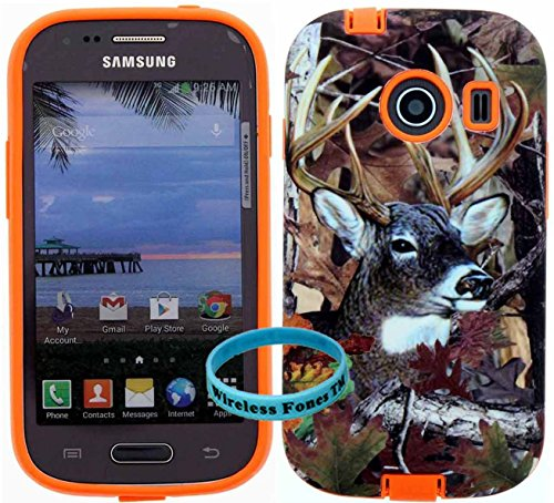 [ Samsung Galaxy Ace Style / SM-G310 / S765C ] for Net 10 Straight Talk Tracfone - Deer Hunting 2 Mossy Camo Snap on over Orange Silicone,Wireless Fones TM Hybrid Tuff Super Compact Armor Case (Camo Cases For Samsung Galaxy Ace compare prices)