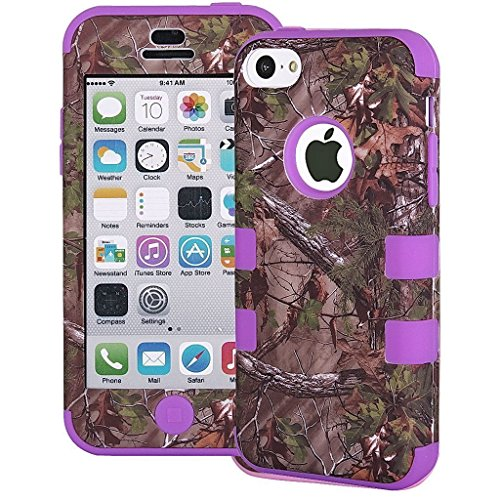 Tech Express (Tm) Hunter Series Real Camo Tree 3-Piece Snap On Hybrid Impact Defender Glossy Highly Durable And Flexible Silicone Tpu + High Quality Uv Oiled Polycarbonate Bumper Bezel Frame Cover Case For Apple Iphone 5C (Purple)