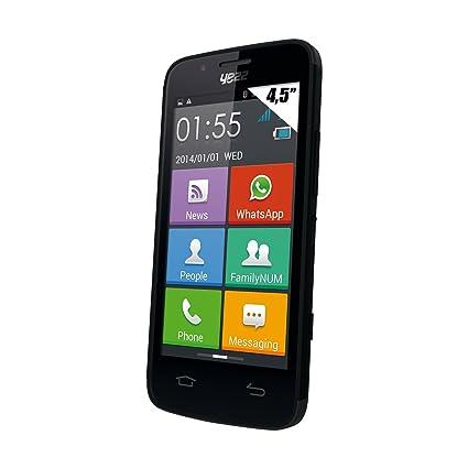 Yezz AZ4,5 Smartphone débloqué 3G Spécial Séniors (Ecran 4,5 pouces - Double SIM - Android 4.2.1 Jelly bean) Noir + 1 socle de charge et une housse