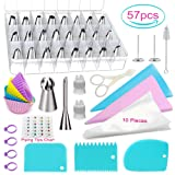 POQOD 57-Piece Cake Decorating Supplies Kits - 26 Stainless Steel Icing Tips Set Silicone Pastry Bags Icing Smoother Piping Nozzles Coupler Flower Nai