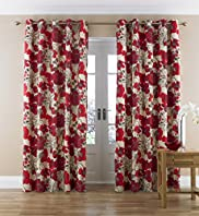 Modern Poppy Floral Eyelet Curtains