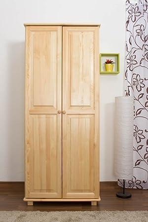 Wardrobe solid natural pine wood 007 - Dimensions 190 x 80 x 60 cm (H x B x T)