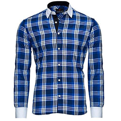 Reslad Herren Hemd Karo Muster Design Langarmhemd RS-7212 Blau L